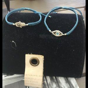 Anthropologie turquoise bracelets Evil Eye & Hamsa
